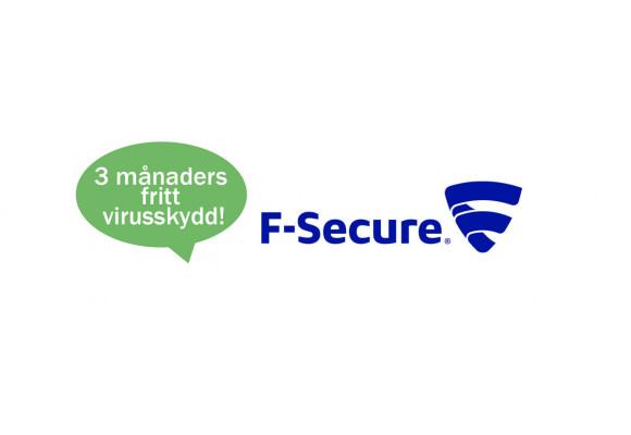 Förmån bara för våra kunder! Alla som köper en dator från oss får F-Secure gratis i 3 månader.